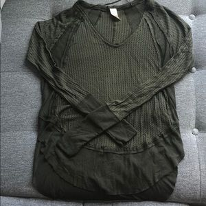 We The Free Olive Green Waffle Henley Size XS